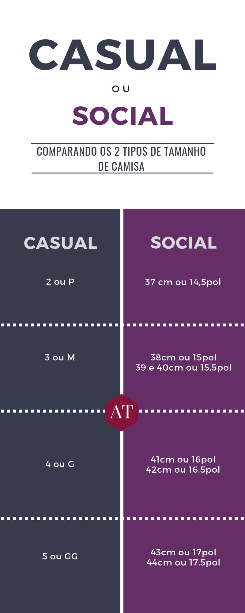 tabela de tamanho de camisa social e casual