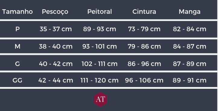 tabela 3 - Tamanho de camisa social e casual